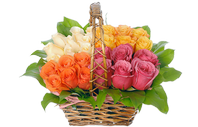 A basket of flowers colors of love