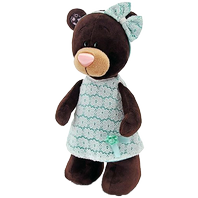 Bear Milk in mint dress standing